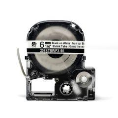 "Epson LABELWORKS PX Shrink Tube 1/4"" (AWG 10-20) x 96"" Black on White Tape - 208STBWPX"
