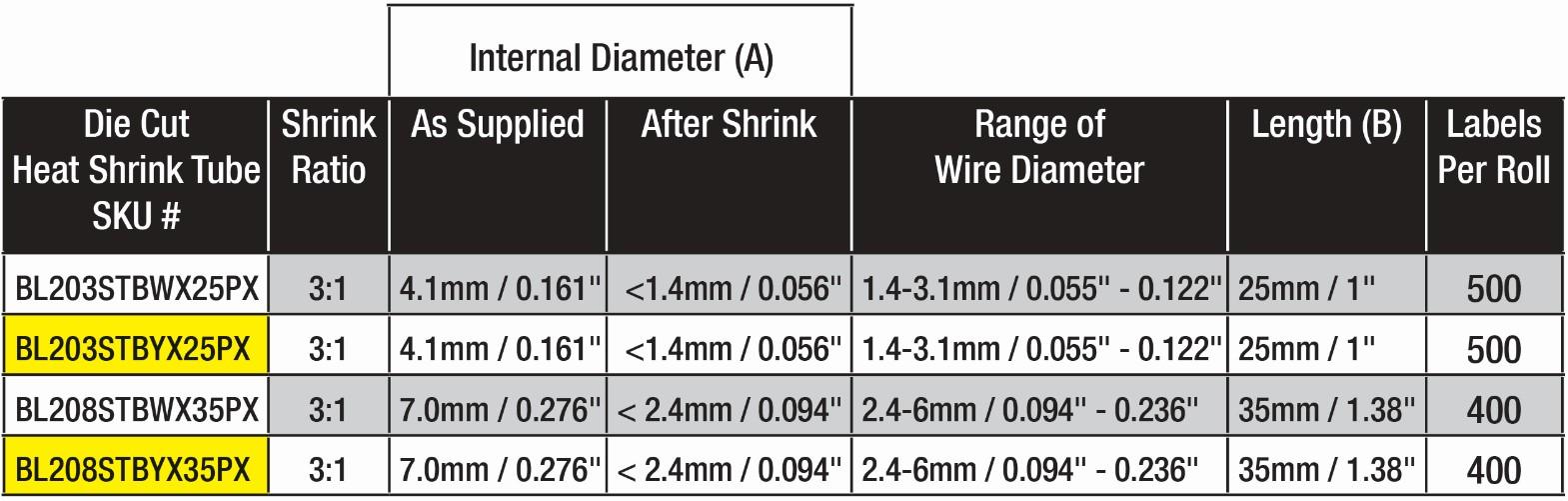 die_cut_shrink_tube_dimension_chart