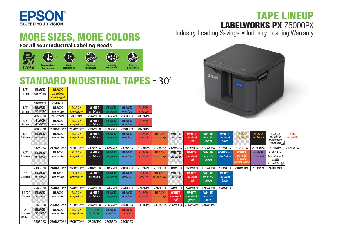 Epson LabelWorks standard industrial tapes